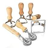Pceewtyt Ravioli Maker Cutter Stamp Set líder cortador de masa y sellos de prensa con mango de madera para ravioli, pasta, albóndigas 6 piezas