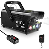 Máquina de Humo, Miric 500W Máquina de Niebla con Cable Remoto y Control Remoto Inalámbrico, Máquina de Humo con 3 Luces de Colores para...