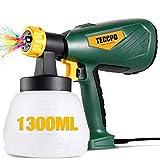 TECCPO Pistola de pintura, Nueva Actualización 2021, Gran Capacidad 1300ML, 500W, 3 modos de pulverización, 4 boquillas (1,3 mm, 1,8 mm, 1,8 mm, 2,6...