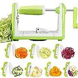 Espiralizador de Vegetales Cortador de Verduras de 7 Cuchillas, Doblado Espiralizador de Verduras en Espiral, Juliana, Espaguetis, Tallarines, Cintas o Fideos