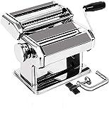 Delgeo Máquina para Hacer Pasta, Máquina de Pasta de Acero Inoxidable 3 en 1 (8 Configuraciones de Grosor), para Fettuccine/Espagueti/Lasaña/Masa, Plata 150