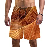 Bañador para hombre de secado rápido para playa con forro de malla, Grano de madera abstracta 2, Medium