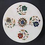 Tabla de quesos de mármol blanco con piedras semipreciosas incrustadas Tortilla Maker de Indian Cottage Art 9 pulgadas