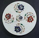 Plato de trabajo de mármol blanco para marquetería de arte tortilla de Indian Cottage Crafts 10 pulgadas