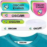 155 pegatinas personalizadas para marcar ropa y objetos. 100 Etiquetas de tela termoadhesiva para planchar en la ropa + 55 etiquetas adhesivas para...