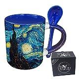 My Custom Style Taza azul + cuchara #Arte-Noche estrellada, Van Gogh # 325 ml