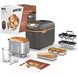 Imetec La Panetteria+Zeroglu, Máquina para hacer pan, chapatas, panecillos, dulces con harinas naturales y sin gluten 20 programas 2 palas de...