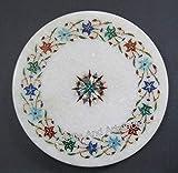Plancha de mármol blanco Pietra Dura Art para servir restaurante y bar 10 pulgadas