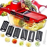 Mandolina cortadora multifuncional,cortador de verduras,trituradora de alimentos,picadora rallador,6 cuchillas afiladas de acero inoxidable...
