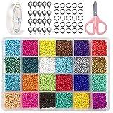 Cuentas de Cristal, 2 mm 24000 Mini Cuentas de Colores para DIY Pulseras Collares Bisutería Joyería-Making (24 Colores)
